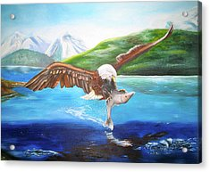 Acrylic Print featuring the painting Bald Eagle Having Dinner by Thomas J Herring