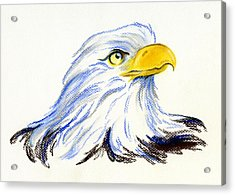 Acrylic Print featuring the pastel Bald Eagle Portrait by MM Anderson
