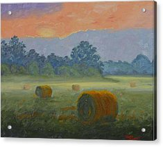 Bales At Dawn Acrylic Print by Tommy Thompson