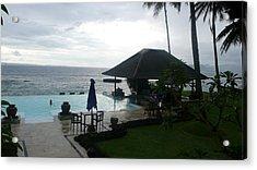 Bali Pool By The Ocean Acrylic Print by Jack Edson Adams
