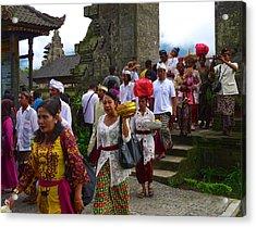 Balinese Leaving Beratan Temple Bali Acrylic Print