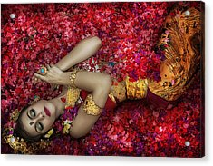 Balinese Woman Among The Flowers Acrylic Print
