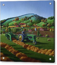 Baling Hay Field - John Deere Tractor - Farm Country Landscape Square Format Acrylic Print by Walt Curlee