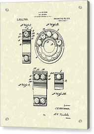 Ball Bearing 1919 Patent Art Acrylic Print by Prior Art Design