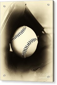 Ball In Glove Acrylic Print by John Rizzuto