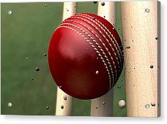 Ball Striking Wickets Acrylic Print