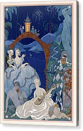 Ball Under The Blue Moon Acrylic Print by Georges Barbier