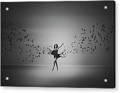 Ballerina Flight Of Birds Acrylic Print