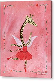 Ballerina Giraffe Girls Room Art Acrylic Print by Kristi L Randall Brooklyn Alien Art