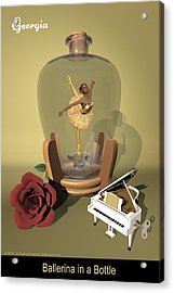 Ballerina In A Bottle - Georgia Acrylic Print by Alfred Price
