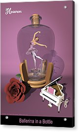 Ballerina In A Bottle - Heaven Acrylic Print by Alfred Price