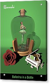 Ballerina In A Bottle - Nanashi Acrylic Print by Alfred Price