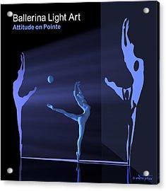 Ballerina Light Art - Blue Acrylic Print by Andre Price