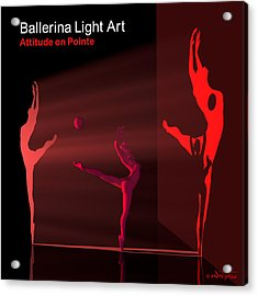 Ballerina Light Art - Red Acrylic Print by Andre Price