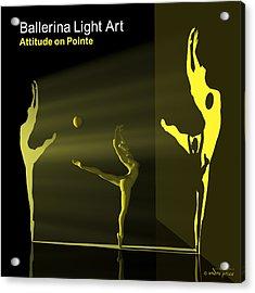 Ballerina Light Art - Yellow Acrylic Print by Andre Price