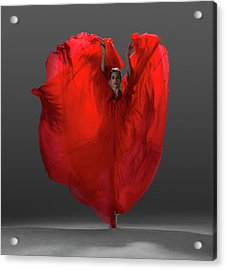Ballerina On Pointe With Red Dress Acrylic Print by Nisian Hughes