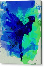 Ballerina On Stage Watercolor 2 Acrylic Print by Naxart Studio