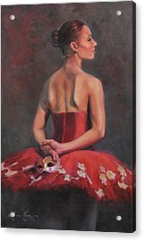 Ballerina With Mask Acrylic Print by Anna Rose Bain