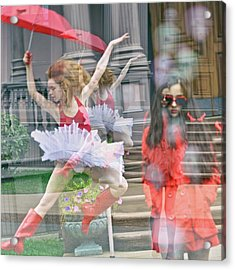 Ballerina With Mysterious Girl Acrylic Print by