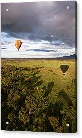Balloon In Masai Mara National Park Acrylic Print by Luis Davilla