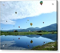 Balloon Reflections Acrylic Print by Stephen Schaps
