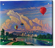 Acrylic Print featuring the painting Ballooning On The Rio Grande by Art James West