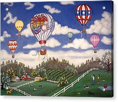 Ballooning Over The Country Acrylic Print by Linda Mears