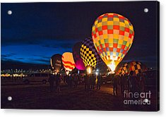 Balloons And The Morning Glow In Panorama Acrylic Print by Mimi Ditchie