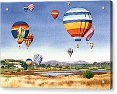 Balloons Over San Elijo Lagoon Encinitas Acrylic Print by Mary Helmreich