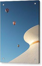 Balloons Race Over The Planetarium Acrylic Print by Scott Rackers