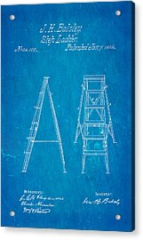 Balsley Step Ladder Patent Art 1862 Blueprint Acrylic Print by Ian Monk