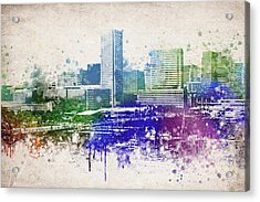Baltimore City Skyline Acrylic Print by Aged Pixel
