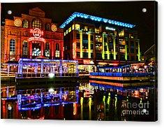Baltimore Harbor Bridge Walk At Night Acrylic Print