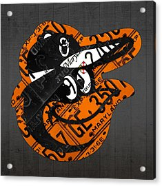 Baltimore Orioles Vintage Baseball Logo License Plate Art Acrylic Print by Design Turnpike