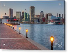 Baltimore Skyline At Twilight I Acrylic Print by Clarence Holmes