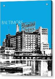 Baltimore Skyline Domino Sugar - Ice Blue Acrylic Print