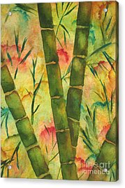Acrylic Print featuring the painting Bamboo Garden by Chrisann Ellis