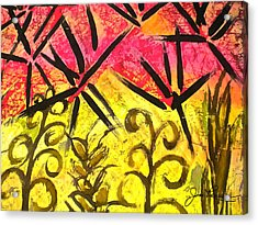 Acrylic Print featuring the painting Bamboo In The Wind by Joan Reese