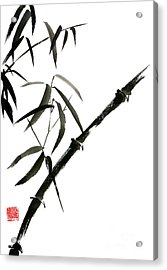Bamboo Japanese Chinese Sumi-e Suibokuga Tree Watercolor Original Ink Painting Acrylic Print by Mariusz Szmerdt