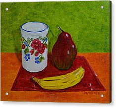 Banana Pear And Vase Acrylic Print