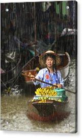 Acrylic Print featuring the photograph Banana Vendor In The Rain by Rob Tullis