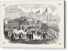 Band Of The 3rd French Regiment Playing In H Acrylic Print by English School