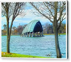 Band Shell After Hurricane Sandy Acrylic Print by Ed Hernandez