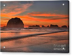 Bandon Sunset And Surf Acrylic Print by Adam Jewell
