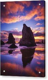 Bandon's Sunset Light Show Acrylic Print by Darren  White