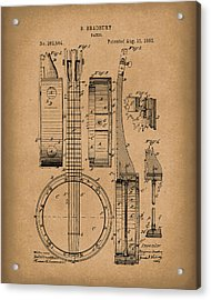 Banjo 1882 Patent Art Brown Acrylic Print