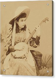Banjo Girl 1880s Acrylic Print by Paul Ashby Antique Image