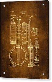 Banjo Patent Drawing - Antique Acrylic Print