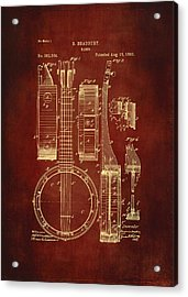 Banjo Patent Drawing - Burgundy Acrylic Print by Maria Angelica Maira