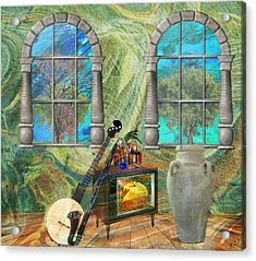 Acrylic Print featuring the mixed media Banjo Room by Ally  White